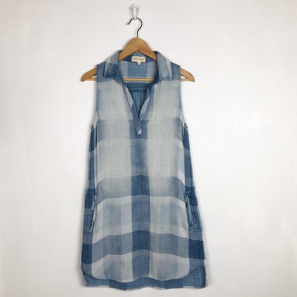 cloth & stone Dresses & Skirts - Cloth & Stone blue checked plaid sleeveless dress